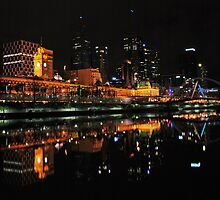 Flinders by night from Southbank by Hicksy