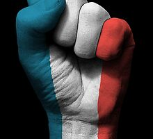 Flag of France on a Raised Clenched Fist  by Jeff Bartels