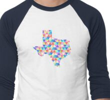Texas Geometric Colorful Triangles Hipster Texas Men's Baseball ¾ T-Shirt