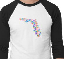 Florida Colorful Geometric Triangles - Hipster Florida Men's Baseball ¾ T-Shirt