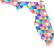 Florida Colorful Geometric Triangles - Hipster Florida by CorrieJacobs
