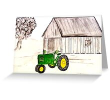 Tractor, Green Tractor Greeting Card