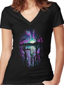 Night With Aurora Women's Fitted V-Neck T-Shirt