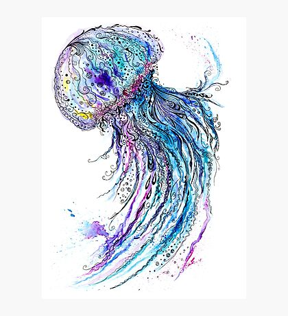 Jelly fish watercolor and ink painting Photographic Print