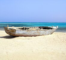 Old Wooden Boat Shipwrecked on Beach at Sharm el Sheikh, Egypt by HotHibiscus