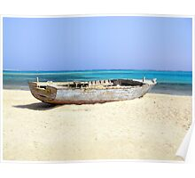 Old Wooden Boat Shipwrecked on Beach at Sharm el Sheikh, Egypt Poster