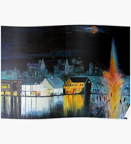 Lac ( Lake )  Bromont  Quebec  Nightscape            ( My Paintings )  Poster