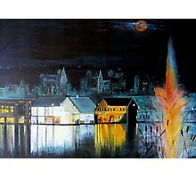 Lac ( Lake )  Bromont  Quebec  Nightscape            ( My Paintings )  Photographic Print