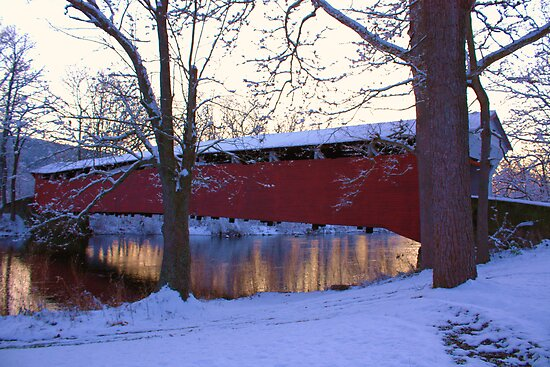 The Covered Bridge in Winter by Mike Griffiths