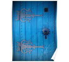 Traditional Old Cobalt Blue Door in Tunisia with Iron Decorations Poster