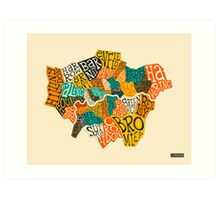 LONDON BOROUGHS MAP Art Print