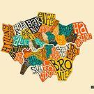 LONDON BOROUGHS MAP by JazzberryBlue