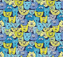 Sketch colorful cat pattern by kisikoida