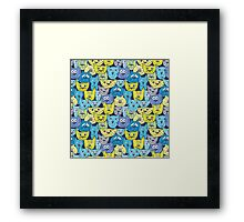 Sketch colorful cat pattern Framed Print