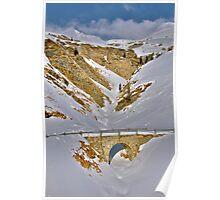 Frozen Casolbach with small Bridge, Avers, Switzerland Poster
