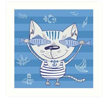 Sea cat illustration  Art Print
