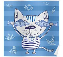 Sea cat illustration  Poster