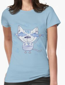 Sea cat illustration  Womens Fitted T-Shirt
