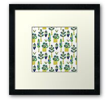 Vector doodle pattern with trees Framed Print