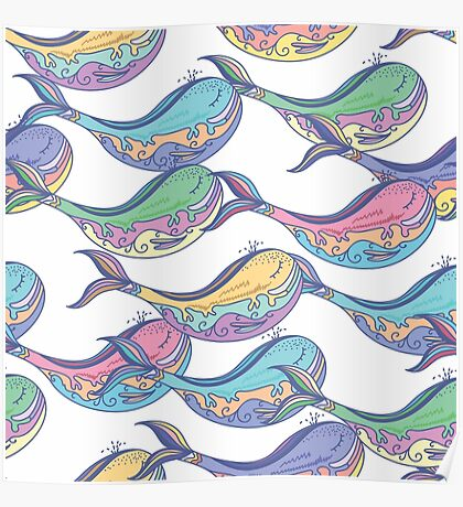 Colorful whale pattern Poster