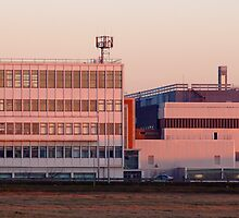 Car on the Roof: BMW's Cowley works at sunset in winter by David Rowlands