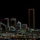 Skyline Denver Neon by MarcVDS