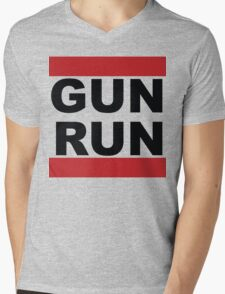 GUN RUN Mens V-Neck T-Shirt