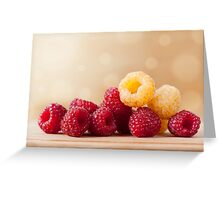 red and golden raspberry fruits Greeting Card