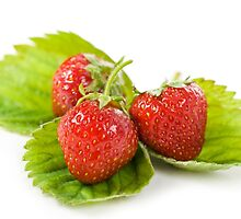 Three fresh strawberries fruits by Arletta Cwalina