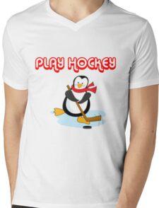 play hockey penguin Mens V-Neck T-Shirt