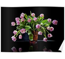 Pink tulips bouquet in glass vase Poster