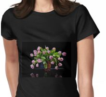 Pink tulips bouquet in glass vase Womens Fitted T-Shirt