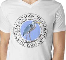 Galapagos Islands Great Blue Heron Mens V-Neck T-Shirt