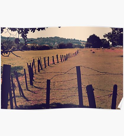Vintage Fence and Field Poster