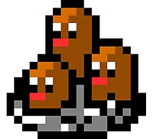 Pokemon 8-Bit Pixel Dugtrio 051 Photographic Print