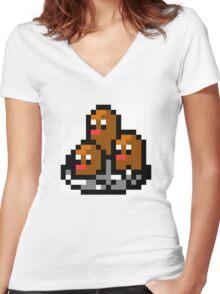 Pokemon 8-Bit Pixel Dugtrio 051 Women's Fitted V-Neck T-Shirt