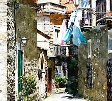 Agropoli: alley with clothes hanging by Giuseppe Cocco