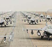 Fighter Jets Lined Up, HD Photograph by tshirtdesign