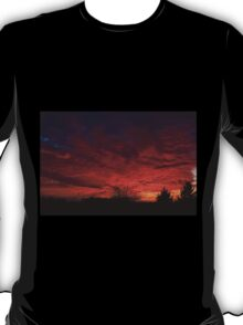 red sunset and trees silhouette in Warsaw  T-Shirt