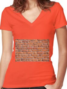 Red bricks wall texture abstract  Women's Fitted V-Neck T-Shirt
