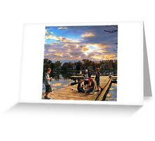 Boys On The Dock Greeting Card