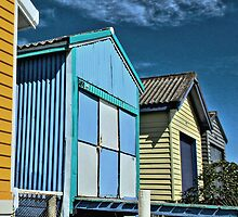 Longbeach Boatsheds by Beth A