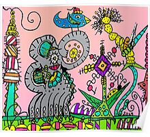 Abstract Elephant in Mo's Garden Poster