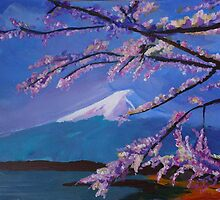 Marvellous Mount Fuji with Cherry Blossom in Japan Sakura by artshop77