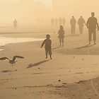 Family on Beach at Sunrise by mklue