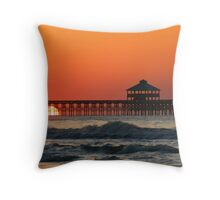 Folly Beach Pier, SC Throw Pillow