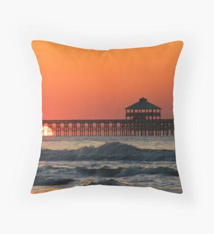 Folly Beach Pier, SC Throw Pillow