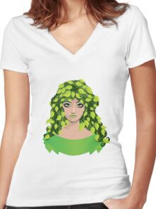 Girl with floral hair 2 Women's Fitted V-Neck T-Shirt