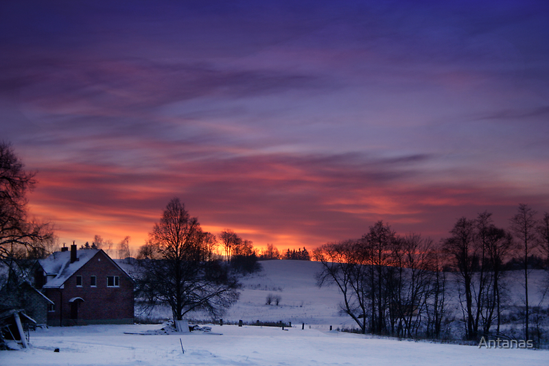 Farmstead in the evening by Antanas