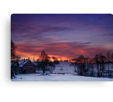 Farmstead in the evening Canvas Print